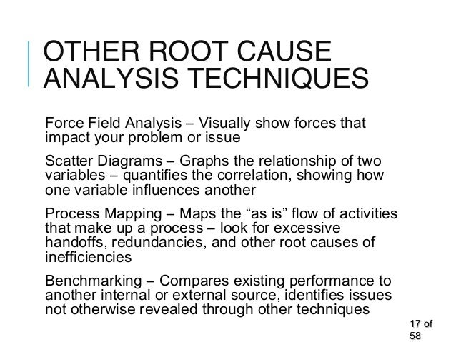 OTHER ROOT CAUSE ANALYSIS TECHNIQUES Force Field Analysis – Visually show forces that impact your problem or issue Scatter...