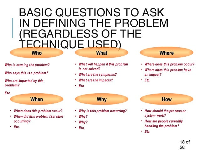 BASIC QUESTIONS TO ASK IN DEFINING THE PROBLEM (REGARDLESS OF THE TECHNIQUE USED) 1818 ofof 5858 Who is causing the proble...