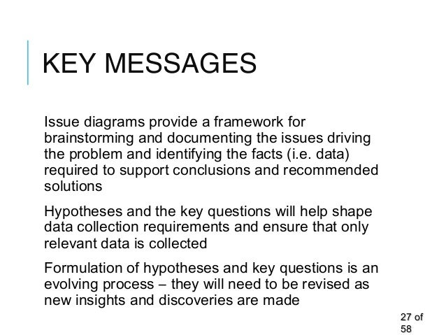 KEY MESSAGES Issue diagrams provide a framework for brainstorming and documenting the issues driving the problem and ident...