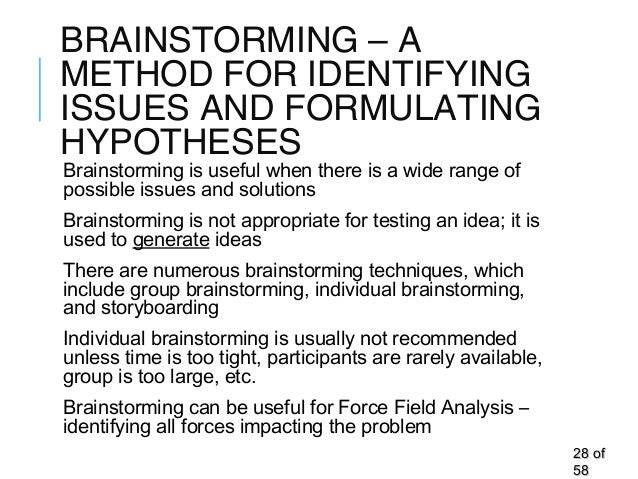 BRAINSTORMING – A METHOD FOR IDENTIFYING ISSUES AND FORMULATING HYPOTHESES Brainstorming is useful when there is a wide ra...