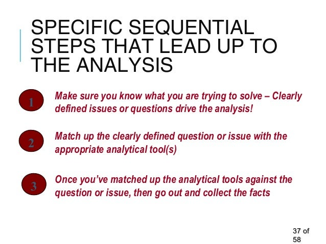 SPECIFIC SEQUENTIAL STEPS THAT LEAD UP TO THE ANALYSIS 3737 ofof 5858 Make sure you know what you are trying to solve – Cl...