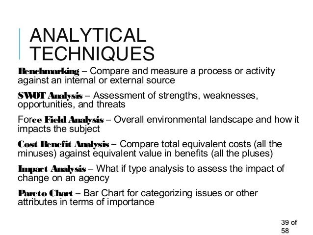ANALYTICAL TECHNIQUES Benchmarking – Compare and measure a process or activity against an internal or external source SWOT...