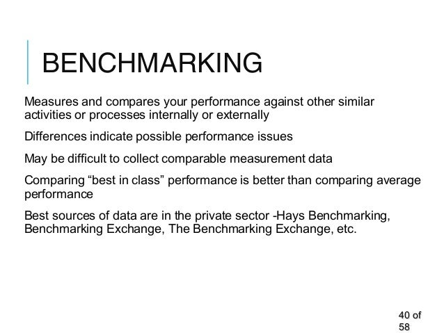 BENCHMARKING Measures and compares your performance against other similar activities or processes internally or externally...
