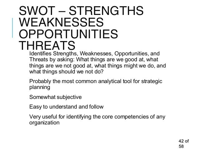 SWOT – STRENGTHS WEAKNESSES OPPORTUNITIES THREATSIdentifies Strengths, Weaknesses, Opportunities, and Threats by asking: W...