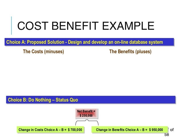 COST BENEFIT EXAMPLE 4747 ofof 5858 • Software License Fees • Upgrade network capacity • Database development time • Train...