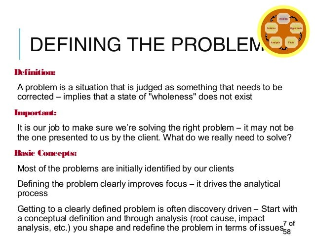 DEFINING THE PROBLEM Definition: A problem is a situation that is judged as something that needs to be corrected – implies...