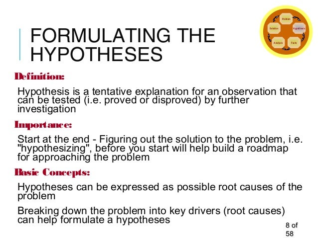 FORMULATING THE HYPOTHESES Definition: Hypothesis is a tentative explanation for an observation that can be tested (i.e. p...
