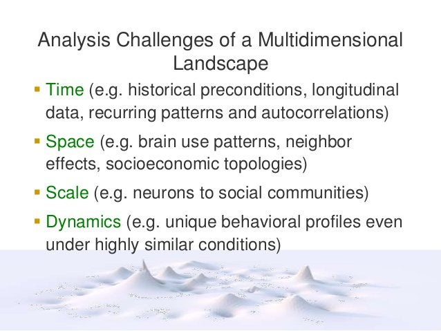 Analysis Challenges of a Multidimensional Landscape  Time (e.g. historical preconditions, longitudinal data, recurring pa...