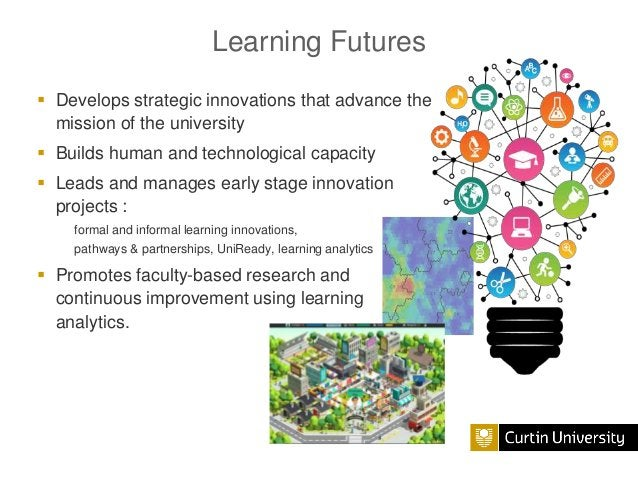 Learning Futures  Develops strategic innovations that advance the mission of the university  Builds human and technologi...