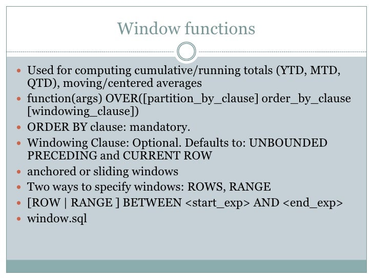 Analytic windowing functions in oracle for Window functions