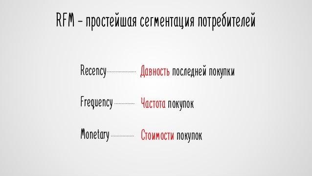 RFM – простейшая сегментация потребителей  Recency Давность последней покупки  Frequency  Monetary  Частота покупок  Стоим...