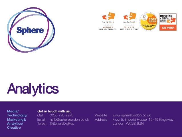 Analytics Media/ Technology/ Marketing& Analytics/ Creative Get in touch with us: Call 0203 728 2973 Email hello@spherelon...