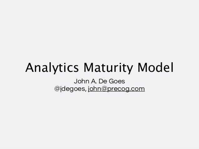 Analytics Maturity Model         John A. De Goes    @jdegoes, john@precog.com