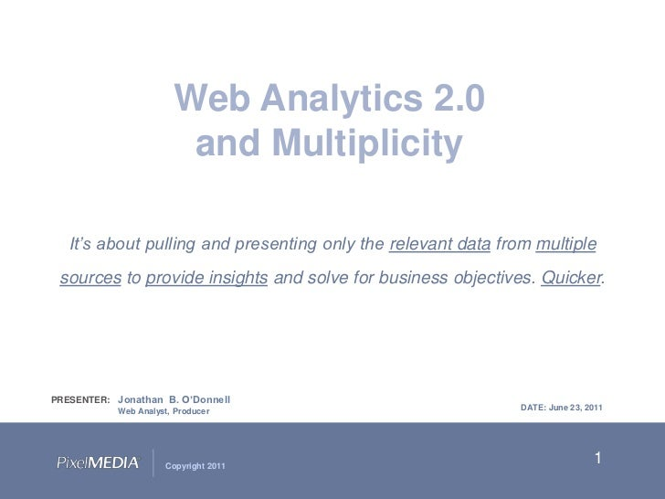 1<br />Web Analytics 2.0 <br />and Multiplicity<br />It's about pulling and presenting only the relevant data from multipl...
