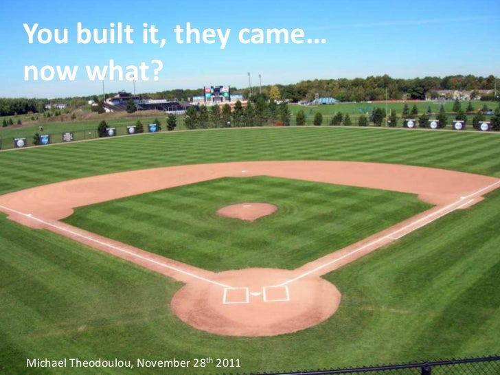 You built it, they came…now what?Michael Theodoulou, November 28th 2011