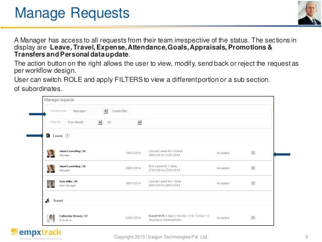Manage Requests A Manager has access to all requests from their team irrespective of the status. The sections in display a...
