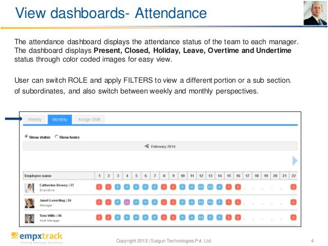 View dashboards- Attendance The attendance dashboard displays the attendance status of the team to each manager. The dashb...