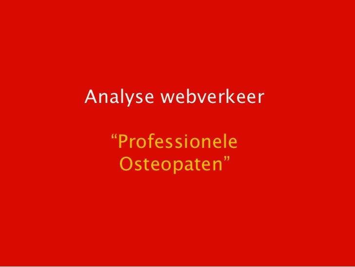 "Analyse webverkeer  ""Professionele   Osteopaten"""