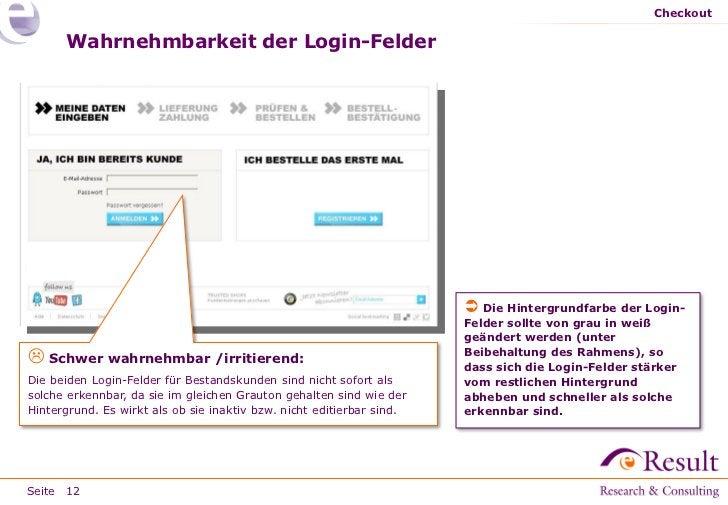 Checkout      Wahrnehmbarkeit der Login-Felder                                                                        Die...
