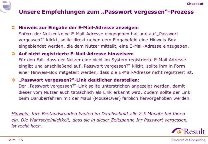 """Checkout     Unsere Empfehlungen zum """"Passwort vergessen""""-Prozess  Hinweis zur Eingabe der E-Mail-Adresse anzeigen:   Sof..."""