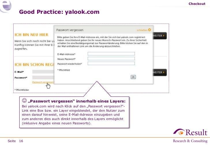"""Checkout     Good Practice: yalook.com        """"Passwort vergessen"""" innerhalb eines Layers:       Bei yalook.com wird nach..."""
