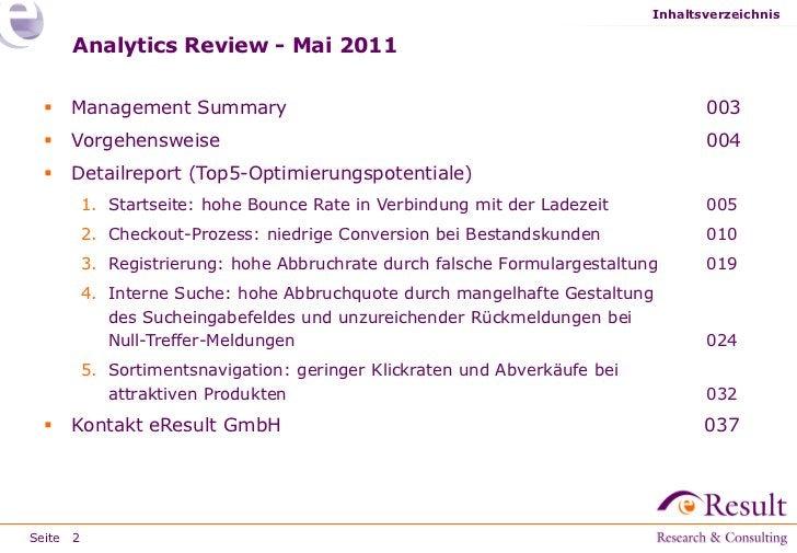 Inhaltsverzeichnis     Analytics Review - Mai 2011    Management Summary                                                 ...