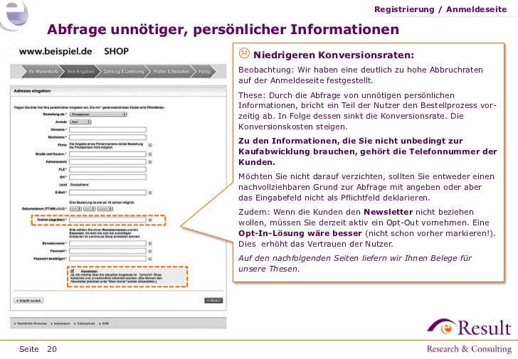 Registrierung / Anmeldeseite     Abfrage unnötiger, persönlicher Informationen                              Niedrigeren K...