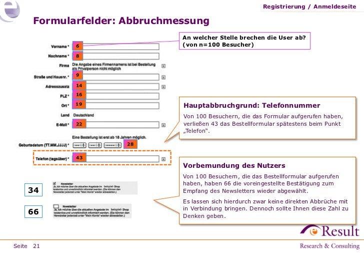 Registrierung / Anmeldeseite     Formularfelder: Abbruchmessung                              An welcher Stelle brechen die...