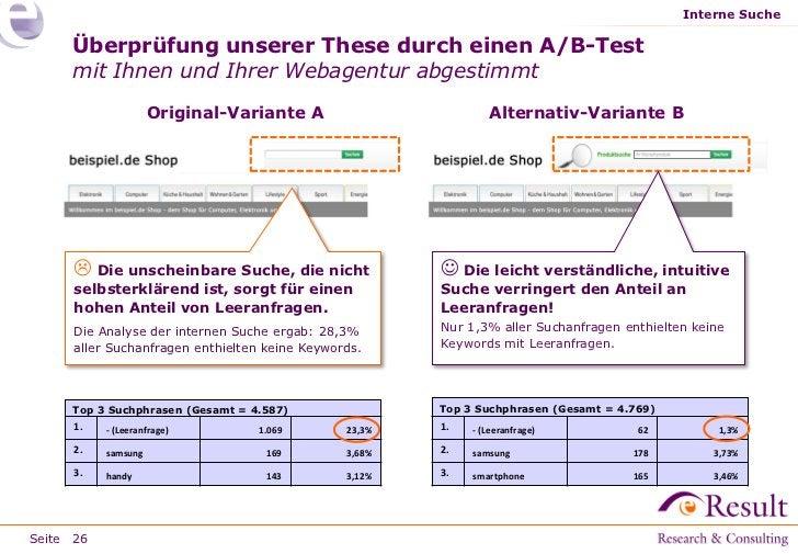 Interne Suche     Überprüfung unserer These durch einen A/B-Test     mit Ihnen und Ihrer Webagentur abgestimmt            ...