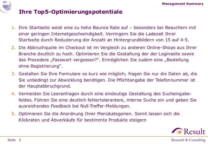 Management Summary     Ihre Top5-Optimierungspotentiale 1. Ihre Startseite weist eine zu hohe Bounce Rate auf – besonders ...
