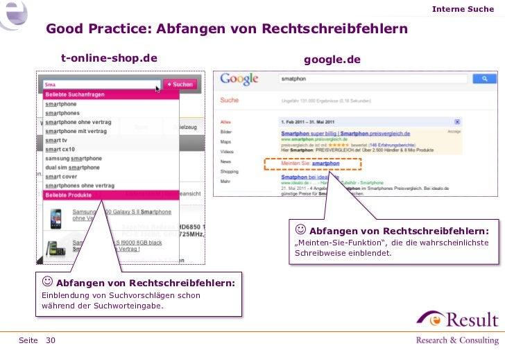 Interne Suche     Good Practice: Abfangen von Rechtschreibfehlern           t-online-shop.de                   google.de  ...