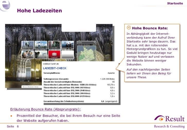 Startseite     Hohe Ladezeiten                                                                      Hohe Bounce Rate:    ...