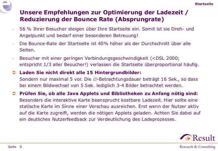 Startseite     Unsere Empfehlungen zur Optimierung der Ladezeit /     Reduzierung der Bounce Rate (Absprungrate)    56 % ...