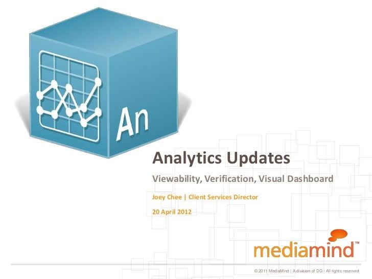 Analytics UpdatesViewability, Verification, Visual DashboardJoey Chee | Client Services Director20 April 2012             ...