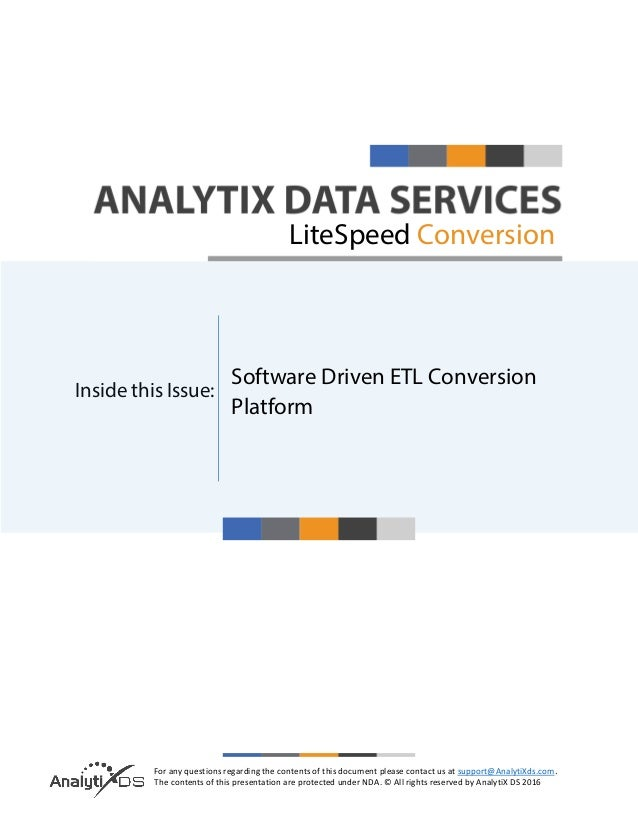 For any questions regarding the contents of this document please contact us at support@AnalytiXds.com. The contents of thi...