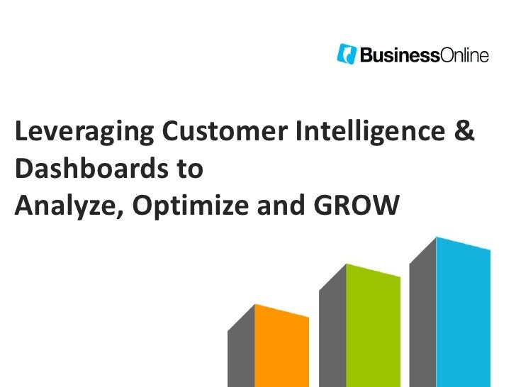 Leveraging Customer Intelligence &Dashboards toAnalyze, Optimize and GROW