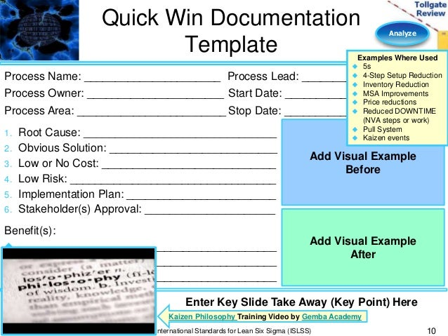 analyze phase lean six sigma tollgate template