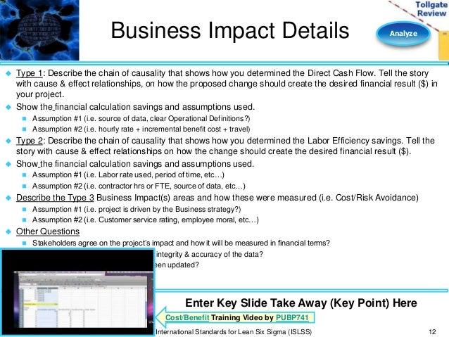 Analyze phase lean six sigma tollgate template business impact accmission Gallery