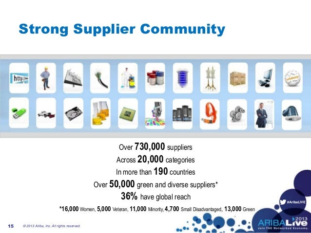 #AribaLIVE15Strong Supplier CommunityOver 730,000 suppliersAcross 20,000 categoriesIn more than 190 countriesOver 50,000 g...