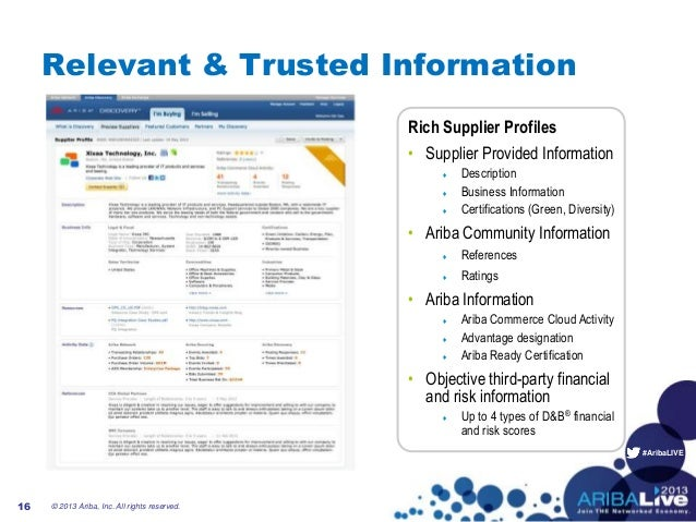 #AribaLIVERelevant & Trusted InformationRich Supplier Profiles• Supplier Provided Information♦ Description♦ Business Infor...