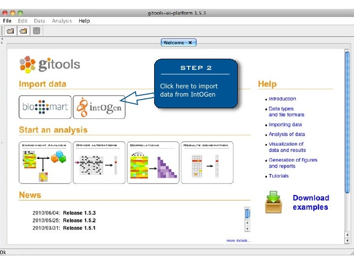 STEP 2  Click here to import data from IntOGen