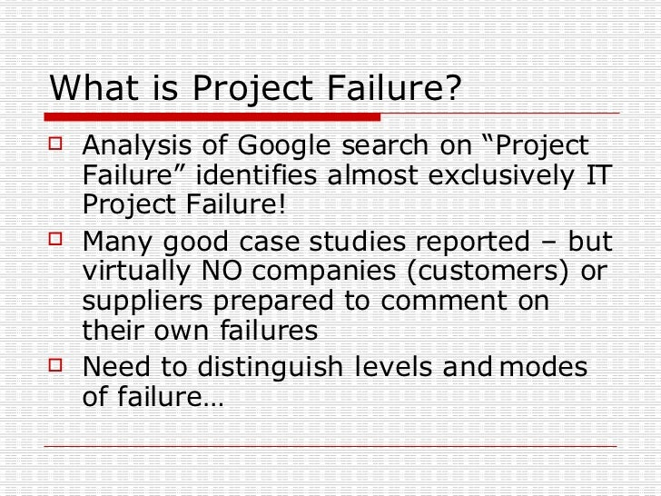 a case study of project and stakeholder management failures lessons learned Engineering project management: initiating and planning from rice university the goal of the course is to give you the tools to initiate a project plan, manage both stakeholders and you will review the case study, apply lessons learned about project management and submit a project.