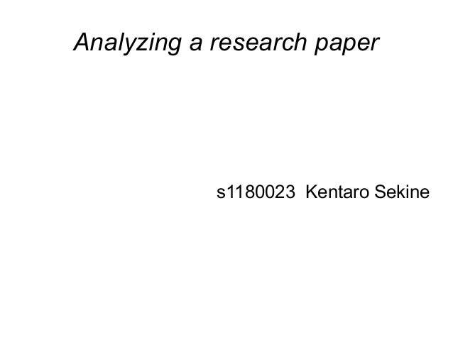 Analyzing a research paper  s1180023 Kentaro Sekine