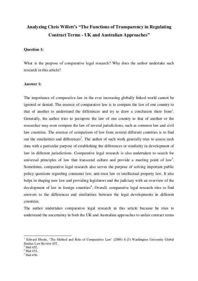 """Analyzing Chris Willett's """"The Functions of Transparency in Regulating Contract Terms - UK and Australian Approaches"""" Ques..."""