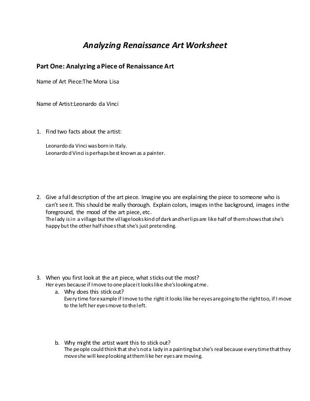Renaissance Art Worksheet – Art Analysis Worksheet
