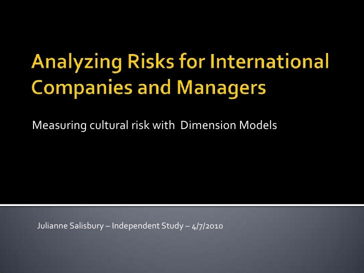 Analyzing Risks for International Companies and Managers<br />Measuring cultural risk with  Dimension Models<br />Julianne...