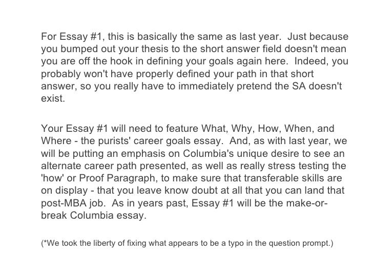 analyzing the  columbia business school essays  for essay