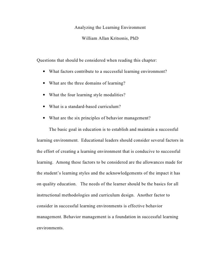 Analyzing the Learning Environment                        William Allan Kritsonis, PhDQuestions that should be considered ...