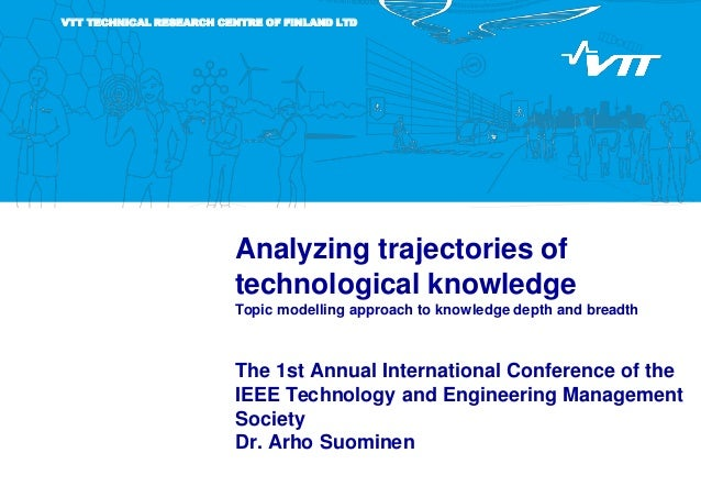VTT TECHNICAL RESEARCH CENTRE OF FINLAND LTD Analyzing trajectories of technological knowledge Topic modelling approach to...
