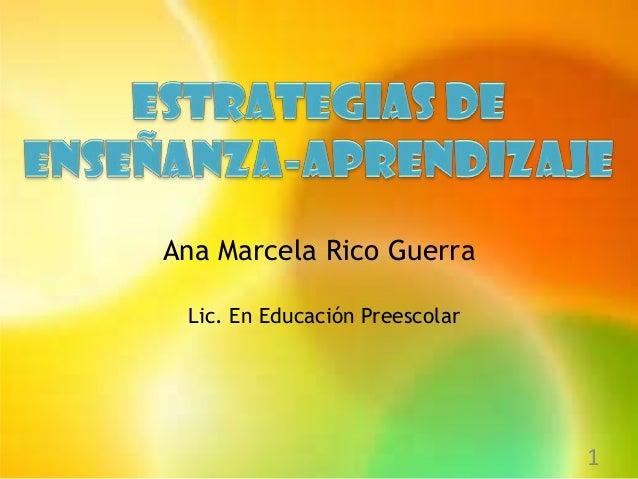 Ana Marcela Rico Guerra Lic. En Educación Preescolar                                1
